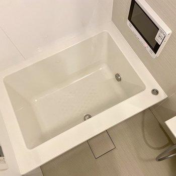 浴室にはテレビ付き。半身浴にハマりそう。
