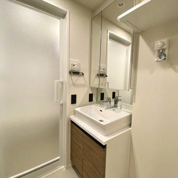 大きな鏡の洗面台。鏡の裏には大容量の収納。