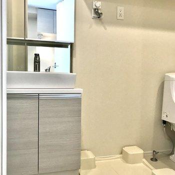 脱衣所には洗面台と洗濯機置き場と……