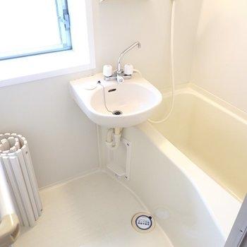 浴室は洗面台と浴槽の2点セット。(※写真は3階の反転間取り別部屋、モデルルームのものです)
