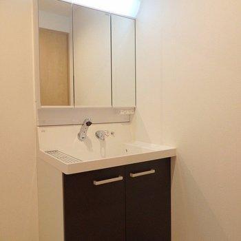 洗面台はワイドタイプ。(※写真は3階の同間取り別部屋のものです)