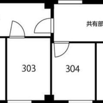 301号室は階段から一番離れた角部屋になります