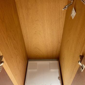 キッチンの左、扉を開けると洗濯機置き場があります。