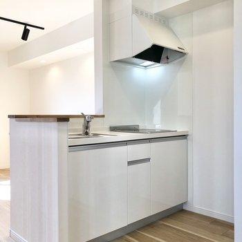 【LDK】対面式のキッチンで、ペットが駆け回るのを見ながらお料理できますね。