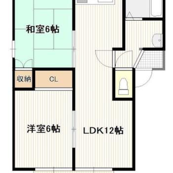 縦長のLDKに洋室・和室がくっついています。
