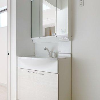 鏡が大きい独立洗面台。少しカクカクしているのがスタイリッシュでかっこいい…!