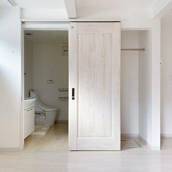 スライド式の戸をあけると水回りがでてきましたよ。戸の塗装がかわいい。
