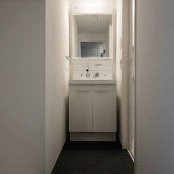 鏡の裏も収納がありました。※写真は4階の同間取り別部屋のものです。