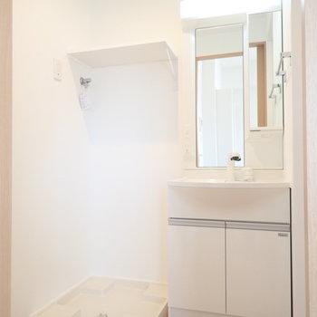 小さな棚が嬉しいですね。※写真は同間取り別部屋のものです。