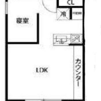 カウンターテーブル付きの1LDKタイプ。※実際のお部屋は寝室ではなくLDKに窓があります