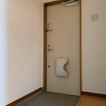 玄関まわりはゆったり。靴箱はないので、サイドのスペースに設置しよう。