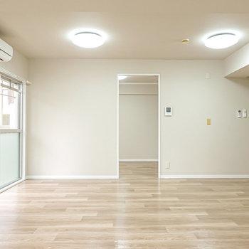 晴れていれば自然光だけで過ごせそうな大きい窓。正面のドアから洋室へ。
