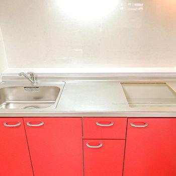 広めのシンクと調理スペース。コンロは持ち込み。