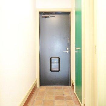 細長いタタキの玄関。緑の扉が靴箱。