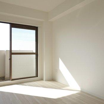 洋室も南向きで自然光だけで明るい。寝室にピッタリ。