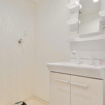 脱衣所に洗面台と洗濯機置き場があるから便利。