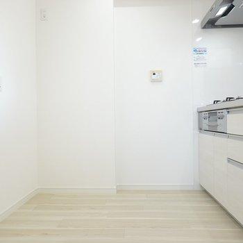 冷蔵庫は後ろ側に。スペースが広いのでレンジやトースターなども。