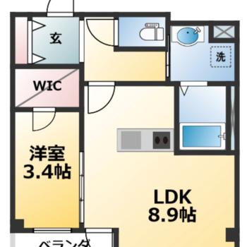 コンパクトな洋室との1LDK。