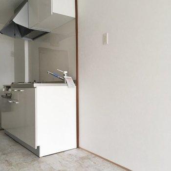 キッチン横に冷蔵庫置場。大きなサイズも置けそうです。