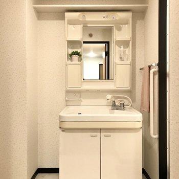 どっしりとした洗面台は家族小物も収納できそうっ(※写真は1階の反転間取り別部屋、モデルルームのものです)