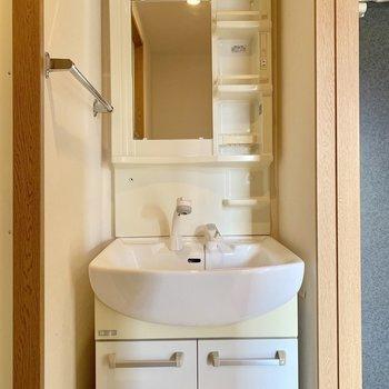 脱衣所入って右に独立洗面台。