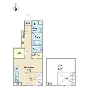 ロフトもある1Rのお部屋。