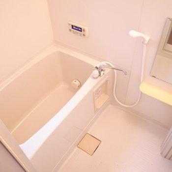 お風呂はコンパクトですがなんだか開放的な気分にもなります。