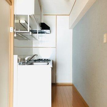 キッチンスペースの手前が冷蔵庫置きとなっています。上にも下にも収納がたくさん!