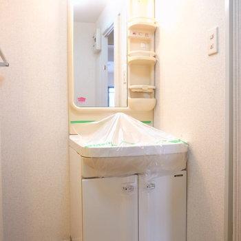 洗面台のとなりに棚を置けます。