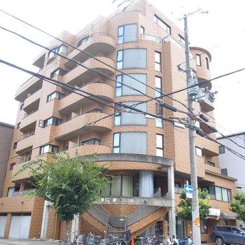 どっしりとした、角地のマンション。1・2階にはお店が入っています。