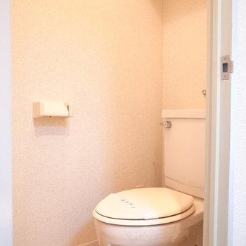 トイレはとってもシンプル。天井近くに棚板が。