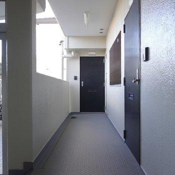 玄関前の共用部。エントランスを入って左手です。