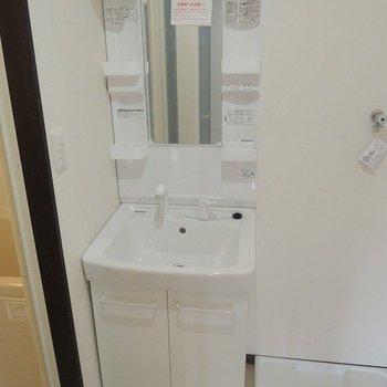 脱衣所に洗面台と洗濯機置き場があります。