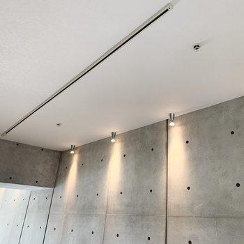 この壁とライトの組み合わせが最強に好みです。LDKも洋室も天井にはライティングレールが設置されています。