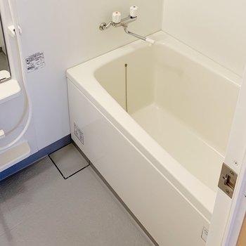 お風呂は普通サイズ。鏡があるのが嬉しい。