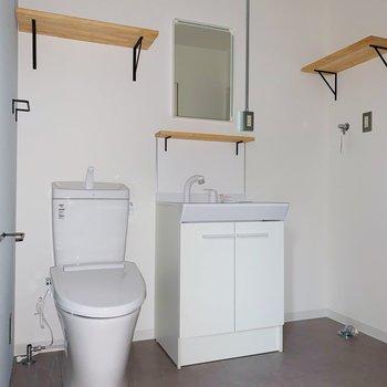 トイレと洗面台、洗濯機置場が1つのスペースにまとまってます。(※写真はフラッシュ撮影をしています)