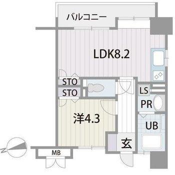 LDKと洋室は廊下を経由。