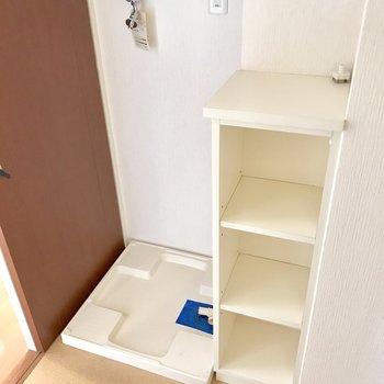 洗濯機は脱衣所に置けます。(※写真は10階の反転間取り別部屋のものです)