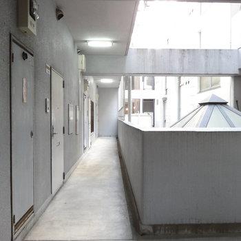 共用廊下がクールな雰囲気でかっこいい。