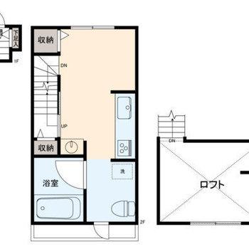 間取りは2階にフロアがあるタイプ。