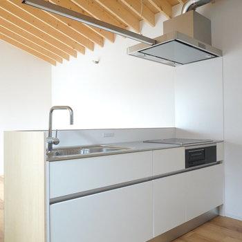 オープンキッチン。照明やダクトも存在感がほぼなく、開放的。