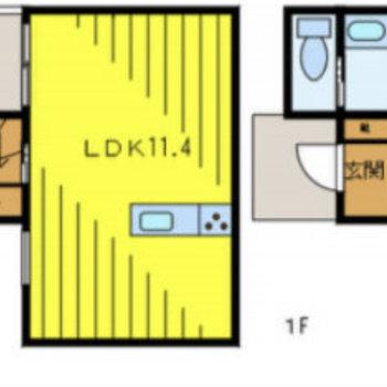 テラスハウスなので、1階と2階に分かれています。