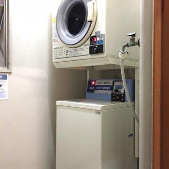 5階と7階に共用の洗濯機・乾燥機がありましたよ。