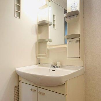 大きめの洗面所で、朝の支度も効率よく