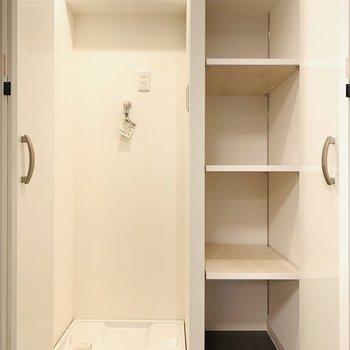 収納可能な洗濯機置場