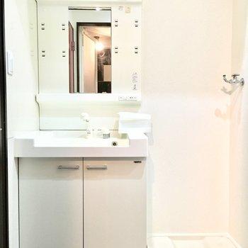 洗面台と洗濯パンは扉で隠すこともできますよ。(※写真は5階の同間取り別部屋のものです)