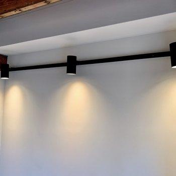 お部屋の照明はスポットライト。