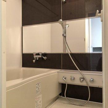 鏡も大きく、ゆったり入れそうなお風呂だなあ。