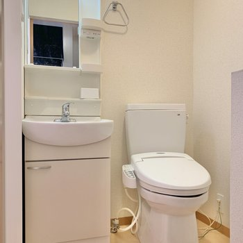 サニタリールームとトイレは同空間。お掃除はまとめて出来そう◯