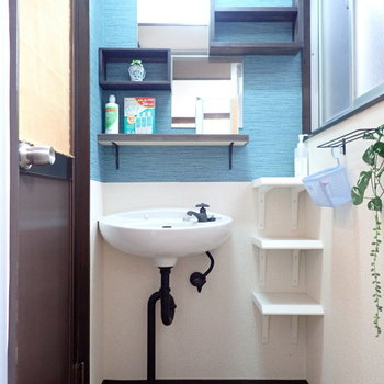 さて洗面台のほうへ。小さな棚があって小分けできますね。